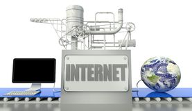 Internet concept, computer and earth globe Stock Photos