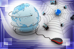 Internet  concept - computer mouse with globe Stock Photo