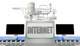 Internet concept with computers and machine Royalty Free Stock Photos