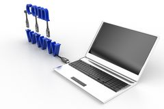 Internet Concept, 3D WWW Com and laptop Stock Photography