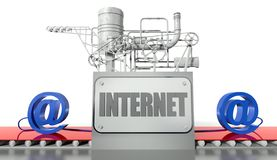 Internet concept with e-mail signs and machine Royalty Free Stock Photography