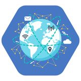 Internet concept. Flat illustration design. Earth icon on the blue background with wifi, gps location, hotspot, mail, cloud icons. Stock Photography