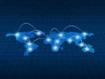 Internet Concept of global business, connection symbols communic. Ation lines, 3d illustration Stock Illustration