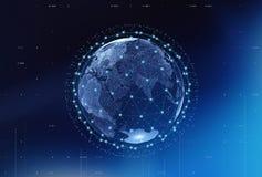 Internet Concept of global business, connection symbols communic. Ation lines, 3d illustration Royalty Free Illustration