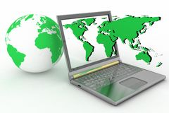 Internet concept  global connection laptop Stock Images