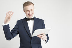 Internet Concept and Ideas. Young Handsome Caucasian Man in Official Suit Royalty Free Stock Images