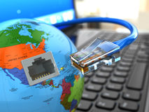 Internet concept. Laptop, earth and ethernet cable. Stock Image