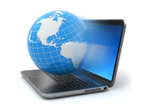 Internet concept. Laptop and earth. Stock Photography