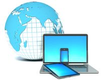 Internet concept. Laptop, phone, tablet and earth Royalty Free Stock Photos