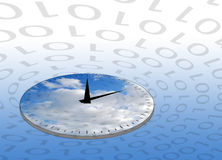 Internet concept. Showing clock circled by ones and zeros stock illustration