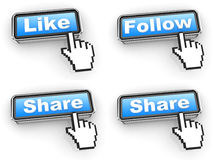 Internet Concept - Web Buttons with Hand Cursor. Stock Photo