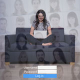 Internet concept - woman with laptop in social network royalty free stock photos