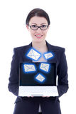 Internet concept - young beautiful businesswoman showing laptop. With new messages isolated on white background stock photography