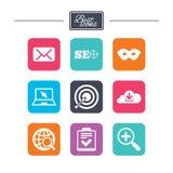 Internet, ícones do seo Lista de verificação, sinais do alvo Foto de Stock