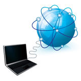 Internet connection. With blue globe and laptop,  illustration Royalty Free Stock Image