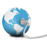 Internet connection. Internet wire connect to the globe for communication Stock Photos