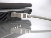 Internet connection. USB cable connected to the laptop Stock Image