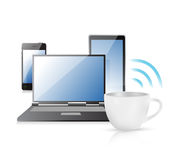 Internet connection coffee mug concept Royalty Free Stock Images