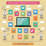 Internet connection and communication. Illustration of infographic element about internet, communication and connection technologies Stock Images