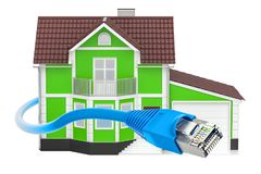 Internet connection concept, house with Lan cable. 3D rendering. Isolated on white background Stock Photo
