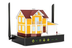 Internet connection concept. Wireless internet router with house. 3D