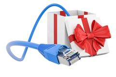 Internet connection in gift concept. 3D rendering Royalty Free Stock Photography
