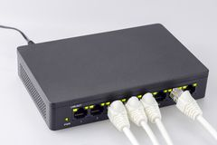 Internet connection hub switch and white lands usb royalty free stock images