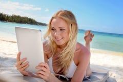Internet connection on a paradisiacal beach Stock Photo