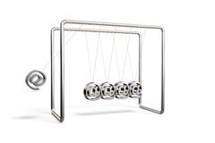 Internet cradle. Newton's cradle with AT symbols isolated on a white background Stock Images
