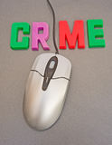 Internet crime. A macro image of the word crime in bold upper case letters with the ' I' replaced by the black cable from a mouse to a personal computer Stock Photo