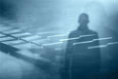 Internet crime concept. Hacker on dark blue digital background stock photos