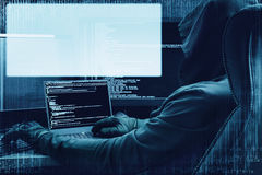 Internet crime concept. Hacker at work on digital background with empty head up hologram for your text around. Stock Photography