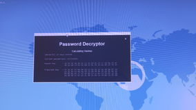 Internet crime concept. Password decryptor. Calculating hashes.