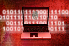 Internet crime investigation. Laptop with fingerprint and technology background as concept for internet crime investigation Stock Photo