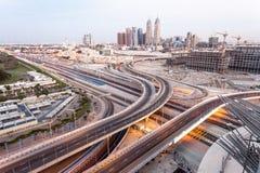 Internet Cty del Dubai al crepuscolo Fotografie Stock
