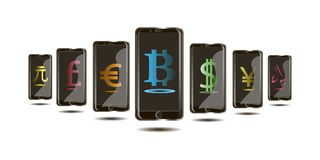 Bitcoin Internet currency, monetary units in the phone in the 3d design. Internet currency, monetary units in phone in 3d design, on white background black Royalty Free Stock Photos