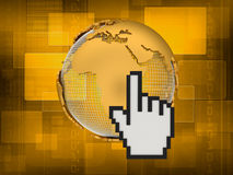 Internet - cursor and globe - concept illustration Stock Image