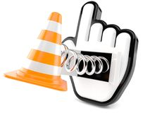 Internet cursor with traffic cone Royalty Free Stock Images