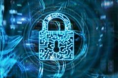 Internet cyber di protezione dei dati di segretezza di informazioni dell'icona della serratura di sicurezza e concetto di tecnolo immagini stock libere da diritti