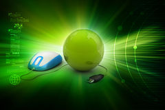 Internet 3d concept - computer mouse with globe Royalty Free Stock Photography