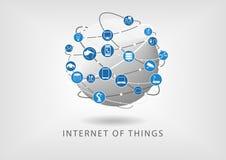 Internet da ilustração conectada moderna do mundo das coisas como ícones no projeto liso
