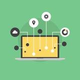 Internet da ilustração lisa do ícone das coisas Imagens de Stock Royalty Free