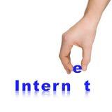 Internet da mão e da palavra Foto de Stock