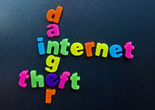 Internet danger. An image underlining the danger of theft when using the internet.  The words danger, theft and internet are linked in cross-word fashion, using Stock Photography