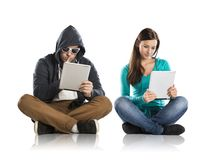 Internet danger. Concept of potentional internet danger with teen girl amd men in disguise Stock Photos