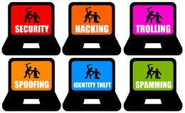 Internet dangers. Overview of online dangers and nuisances Royalty Free Stock Images
