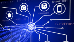 Internet das coisas com o córrego de dados azul Fotos de Stock