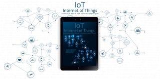 Internet das coisas, conceito de projeto de computação da nuvem com ícones - conexões de rede de Digitas ilustração royalty free
