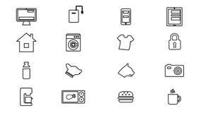 Internet das coisas e de ícones home espertos 4K ilustração stock