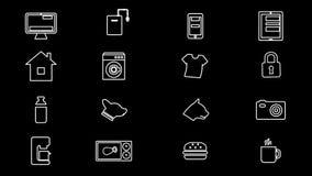 Internet das coisas e de ícones home espertos 4k com canal alfa vídeos de arquivo